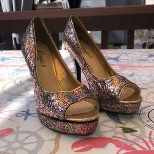 💜2 For $25💜Candies Sparkly OpenToe Heels